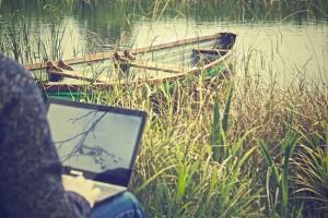 writing-near-boat