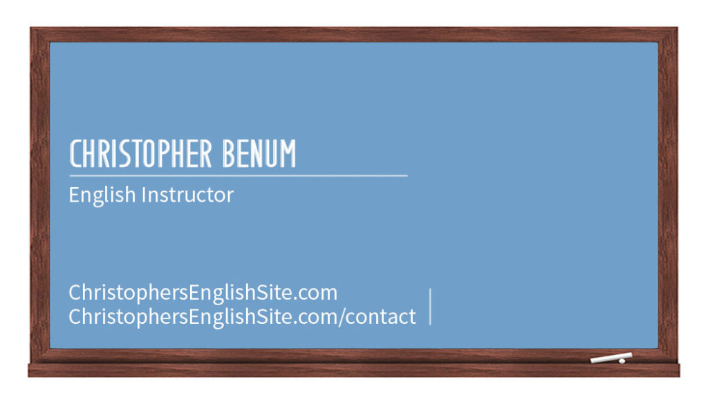 english instructor business card